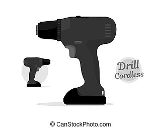 Cordless drill black style. Power tool.