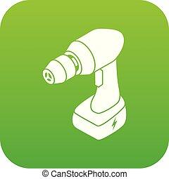 Cordless drill icon green vector