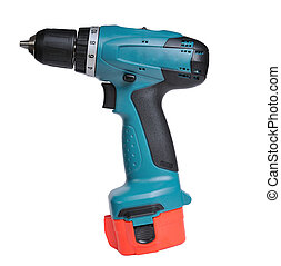 Cordless drill isolated on a white background