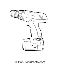 Cordless Drill - vector blsck outline cordless drill on...