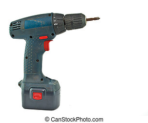 cordless drill with a cross head screw driver tip.