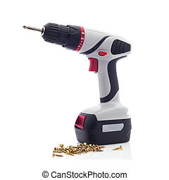 Cordless Drill with Screwdriver Bit and Screws on a White...