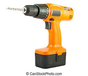 Cordless drill with twist bit
