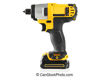 Cordless driver on a white background.