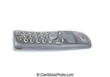 cordless gray dect landline phone isolated on white