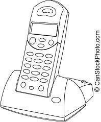 Cordless Phone vector - contour outline illustration