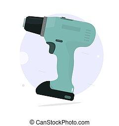 Cordless screwdriver. Cartoon style.