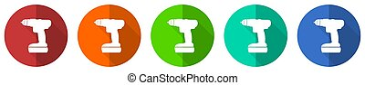Cordless screwdriver, drill icon set, red, blue, green and orange flat design web buttons isolated on white background, vector illustration