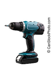 Cordless screwdriver on white background. Space for text