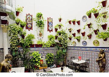 cordoba, étterem, (courtyard), andalusia, kis zárt belső ...