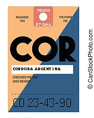 Cordoba realistically looking airport luggage tag illustration