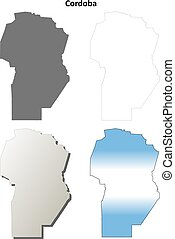 Cordoba province blank vector outline map set