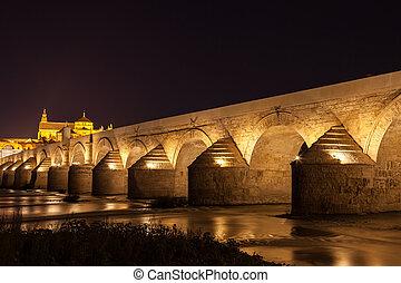 Cordoba Bridge during night - Roman bridge of Córdoba, the ...
