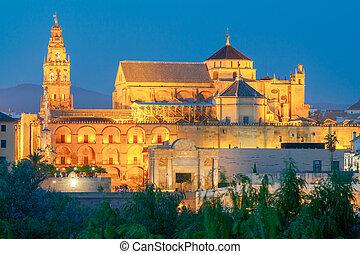 Mezquita Mosque Catedral de Cordoba at night, Cordoba, Andalusia, Spain.