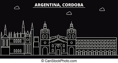 C?rdoba silhouette skyline. Argentina - C?rdoba vector city, argentinian linear architecture, buildings. C?rdoba travel illustration, outline landmarks. Argentina flat icons, argentinian line banner