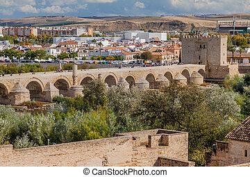 CORDOBA, SPAIN - NOVEMBER 5, 2017: Roman bridge in Cordoba, Spa
