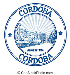 Black grunge rubber stamp with the name of Cordoba the city of Argentina written inside, vector illustration