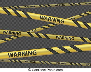 Cordon tape with the word warning. Vector template - Cordon ...