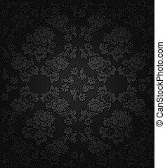 Corduroy dark background, gray flowers texture fabric