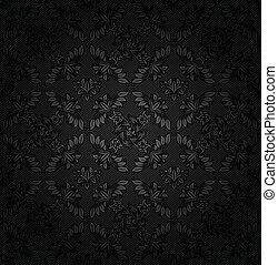 Corduroy texture dark background, ornamental fabric gray flowers