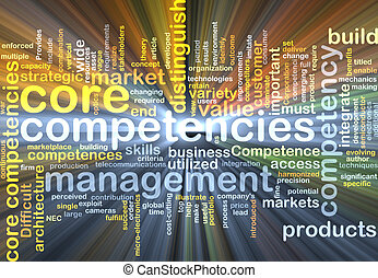 core competencies wordcloud concept illustration glowing