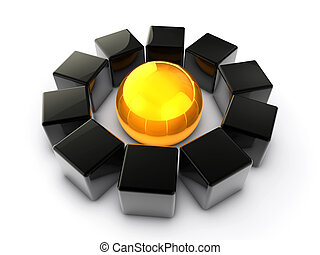 Core Importance - 3D render of black cubes with a golden...