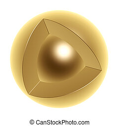 core of sphere - golden core of sphere isolated on white...