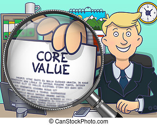Core Value through Magnifying Glass. Doodle Concept.