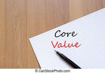 Core value write on notebook