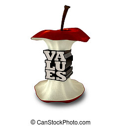 An apple core with the extreme centre as extruded text spelling out the word value
