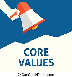CORE VALUES Announcement. Hand Holding Megaphone With Speech Bubble