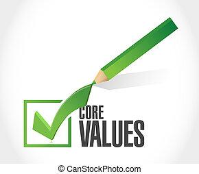 core values check mark sign illustration design