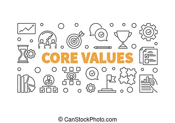 Core Values concept illustration or banner in thin line style