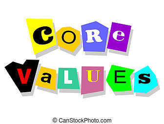 Ethics concept - core values, words in collage cutouts isolated on white.