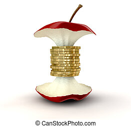 An apple core with gold coins as the centre on an isolated background