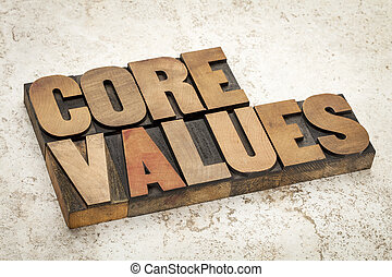 core values in wood type - core values - ethics concept -...