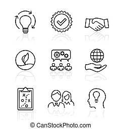 Core Values - Mission, integrity value icon set with vision...