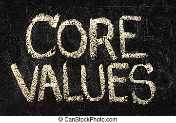 core values phrase - white chalk handwriting on a vintage slate blackboard, isolated