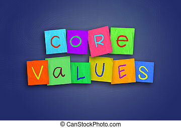Core Values - The words Core Values written on sticky...