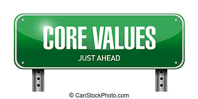 core values road sign illustration design over a white ...