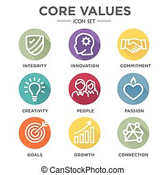 Company Core Values Solid Icons for Websites