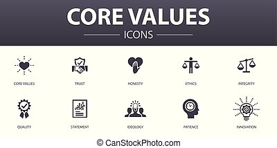 Core values simple concept icons set. Contains such icons as trust, honesty, ethics, integrity and more, can be used for web, logo