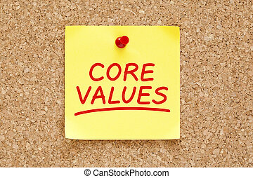 Core Values Sticky Note - Core Values written on yellow ...
