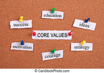 Core values concept paper words are pinned on cork.