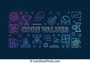 Core Values vector horizontal colorful outline illustration