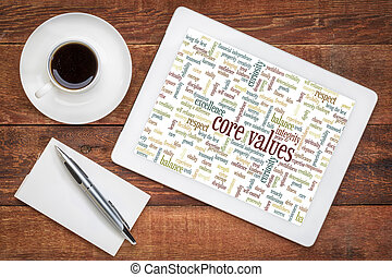 word cloud of possible core values on a digital tablet with a cup of coffee