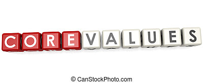 Core values word concept on cube block isolated