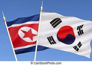 corea del norte, banderas, sur