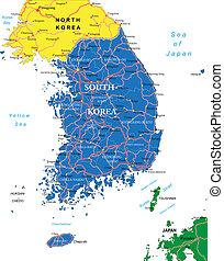 corea del sur, mapa