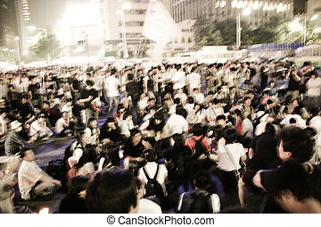 corea, seúl, multitudes, plaza, reunión, demostración, sur